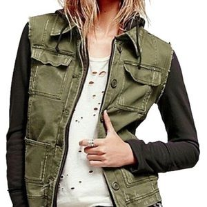 Free People Knit Hooded Twill Military Jacket Sz S